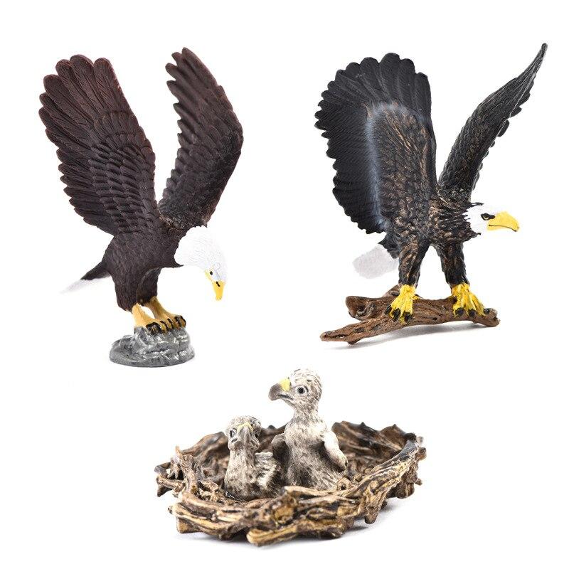 Cross Border Animal Model Toy Eagle Sculpture Bald Eagle Cubs Model Ornaments Children'S Educational Toy