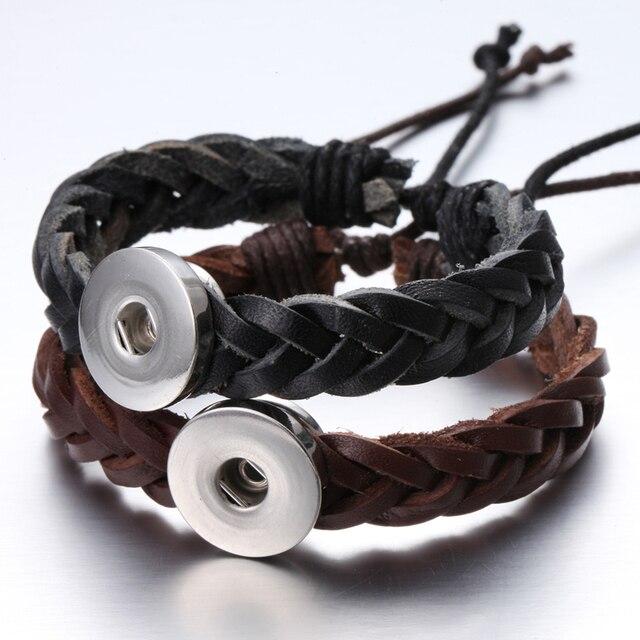Neue Snap Schmuck Handgemachte Geflochtenes Leder Snap Armband Armreifen Fit 18mm Druckknopf Schmuck für Frauen Männer DIY Armband