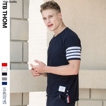2020 men's o-neck shirt sleeve t-shirts summer casual tees men contrast color 100% cotton t-shirts for male white gray