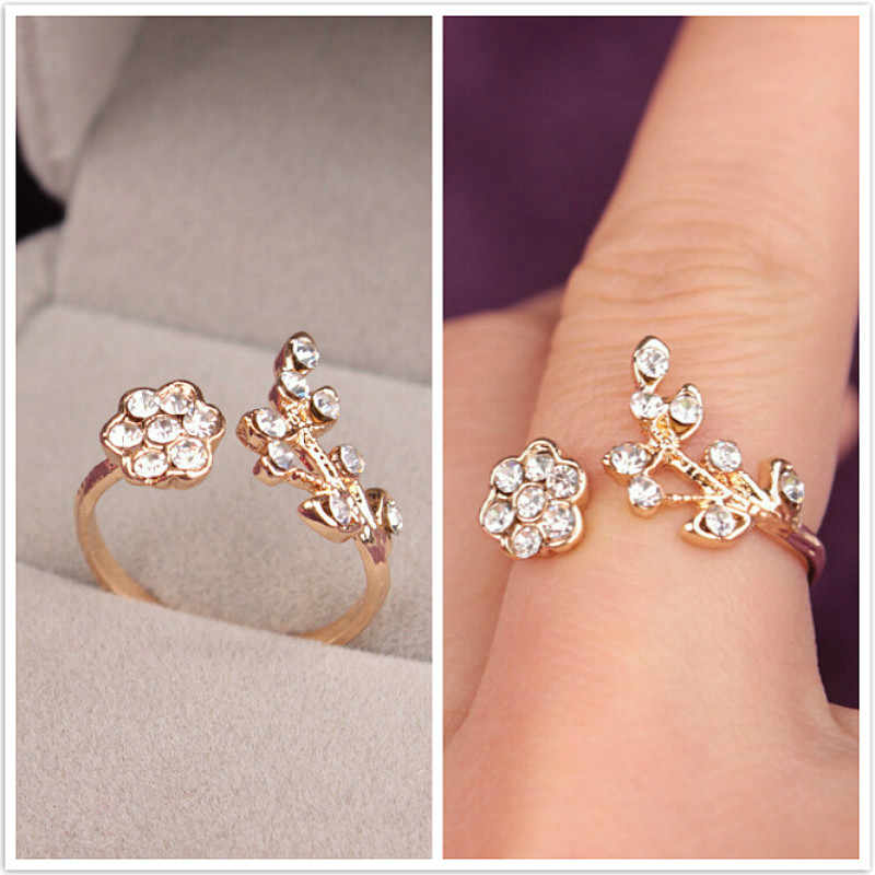 Hot Sale Temperament Rhinestones Twisted Leaves Wishful Flowers Open Ring Index Finger Ring Unisex Rings