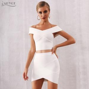Image 3 - ADYCE 2020 ฤดูร้อนใหม่ผู้หญิง Bodycon ผ้าพันแผลชุด Vestidos 2 ชิ้นชุด Top V คอคนดังชุดราตรีชุดปาร์ตี้