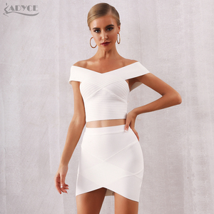 Image 3 - Adyce 2020 새로운 여름 여성 bodycon 붕대 세트 드레스 vestidos 2 두 조각 세트 탑 골드 v 목 유명 인사 저녁 파티 드레스