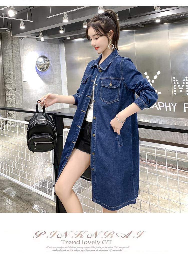 Hodisytian outono moda feminina denim trench coat