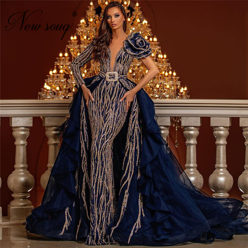 Dubai Navy Blue Glitter Evening Dresses Islamic Turkish Women Detachable Skirt Party Gowns Arabic Prom Dress Robe De Soiree 2020