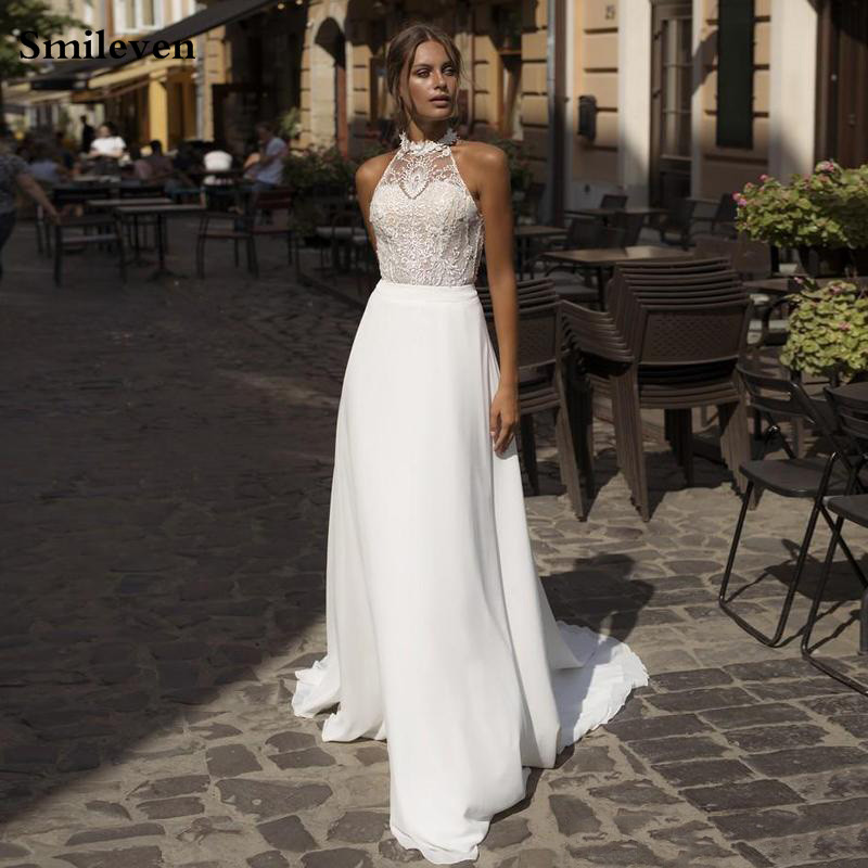 Smileven Chiffon Wedding Dress 2020 Sexy Halter Boho Bride Dresses Appliqued Lace Vestido De Casamento Beach Wedding Gowns