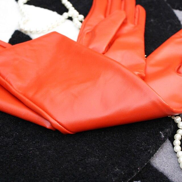 Купить оранжевые женские перчатки теплее длинные натуральные кожаные картинки
