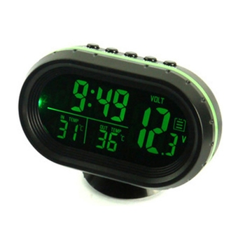 Digital Car LCD Clock Voltmeter Thermometer Battery Voltage Temprerature Monitor DC 12V-24V Freeze Alert J6PC image
