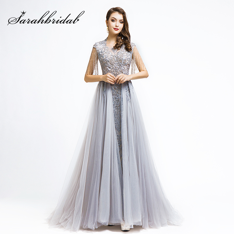 New Arrival Real Pictures Celebrity Inspired Dresses 2019 Luxury Beading Gray Women Formal Evening Party Gown Pre Sale L5486