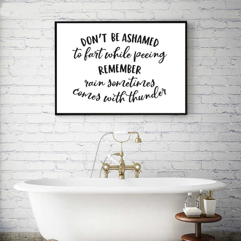 Funny Bathroom Quote Canvas Art Prints Bathroom Wall Art Decor Black And White Minimalism Restroom Sign Poster Art Painting Painting Calligraphy Aliexpress