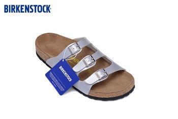 Birkenstock Florida summer Men Women flats sandals Cork slippers unisex casual shoes Beach slippers buckle silver size:35-45