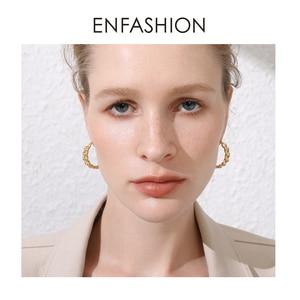 Image 5 - ENFASHION Punk Kleine Link Kette Hoop Ohrringe Für Frauen Gold Farbe Runde Hoops Ohrringe Modeschmuck Pendientes Mujer E191088