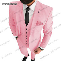 2020 PINK Custom Made Best Men Wear Groom Tuxedos Black Lapel Groomsman Wedding Suits Business Suit 3 Pieces (Jacket+Pants+Vest)
