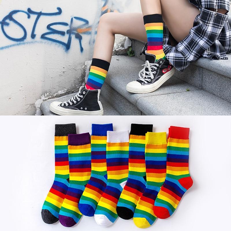 Korean Women Style Fashion Hip Hop Skateboard Socks Street Fashion Women Rainbow Socks Autumn And Winter Unisex Long Socks