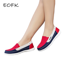 EOFK Spring Autumn Women Canvas Loafers Flats Lady Casual Round Toe Shallow Mixed Colors Slip on Shoes Zapatos De Mujer