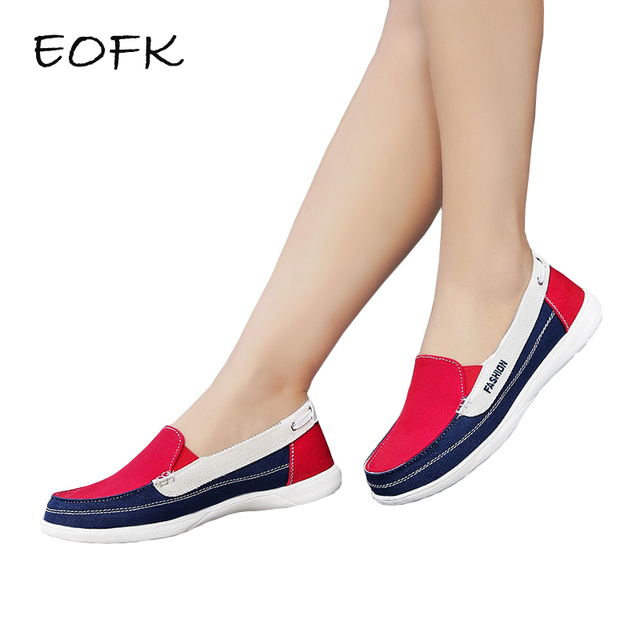 EOFK Spring Autumn Women Canvas Loafers