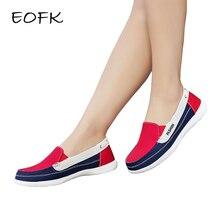 EOFK 봄 가을 여성 캔버스 로퍼 플랫 레이디 캐주얼 라운드 발가락 얕은 혼합 색상 슬립 온 신발 Zapatos De Mujer