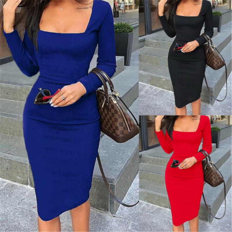 New Women Off Shoulder Spuare Neck Bodycon Midi Dress Evening Party Formal OL Bodycon Slim Sundress Long Sleeve Fall Women Dress 1