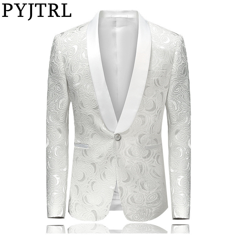 PYJTRL Mens Fashion White Rose Jacquard Blazer Slim Fit Suit Jacket