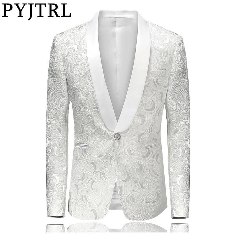 PYJTRL Mens Fashion White Rose Jacquard Blazer Slim Fit Suit Jacket