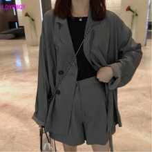 LDYRWQY spring and summer new Korean women's fashion wild double-breasted pockets solid color loose casual one-piece suit