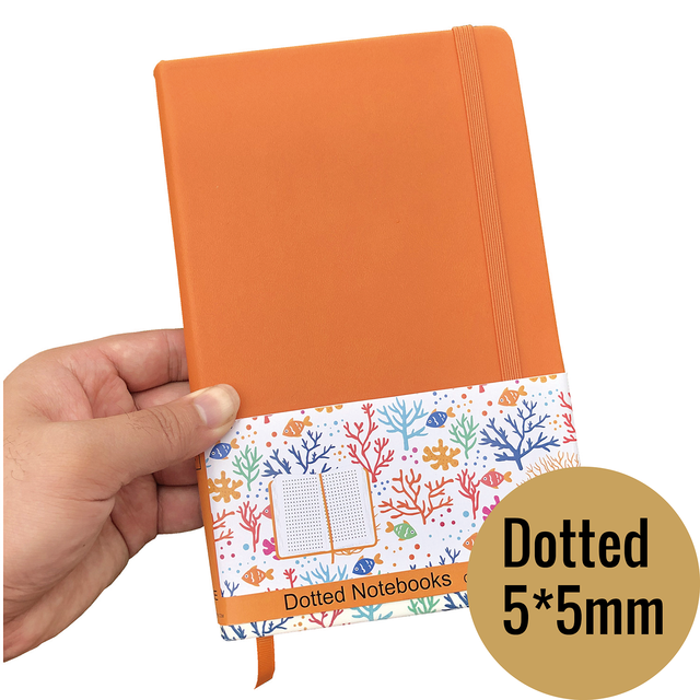A5 Size Journals And PU Leather Dot Grid Notebook 5*5mm Dotted bujo