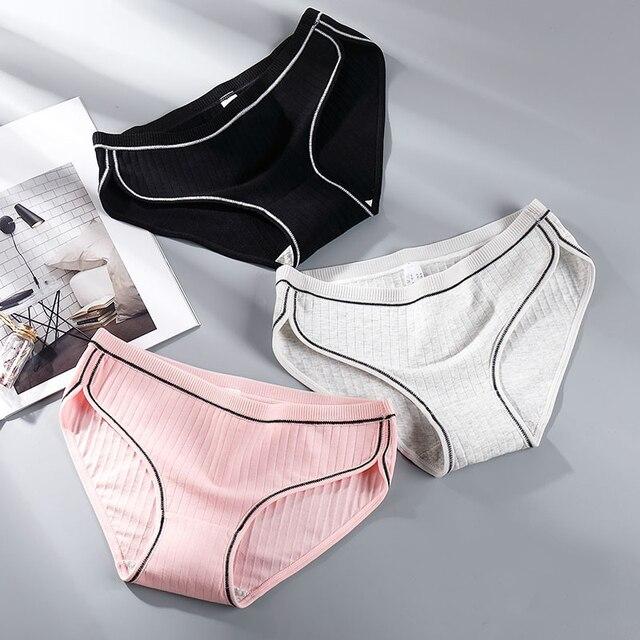 Femmes coton culottes sexy caleçons ensemble sous vêtements lingerie intimes slips respectueux de la peau filles culottes dropshipping 3 pcs/lot