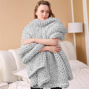 Image 3 - 200*200cm szybki transport moda masywny koc z dzianiny gruba przędza wielkogabarytowe Knitting rzuć koce Sofa rzuć