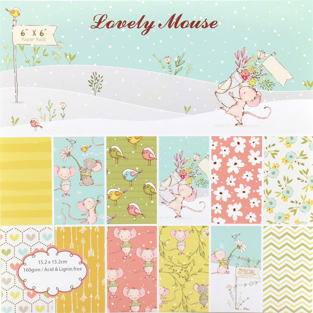 KSCRAFT 12 Sheets Lovely Mouse Scrapbooking Pads Paper Origami Art Background Paper Card Making DIY Scrapbook Paper Craft