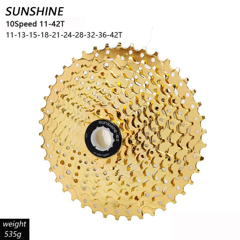 Кассета SUNSHINE MTB, 10 скоростей, маховик 10 S 11-36T/42T, золотой свободный круг для велосипедных запчастей M610 M670