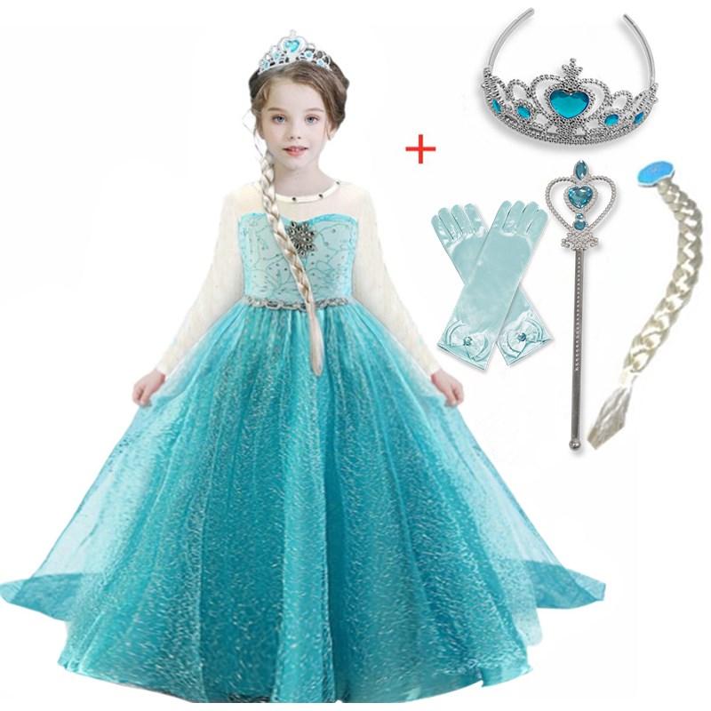 Новинка 2020, платье, костюм для девочек, костюмы для косплея, детские платья на Хэллоуин с длинным рукавом, вечерние платья принцессы для дево...