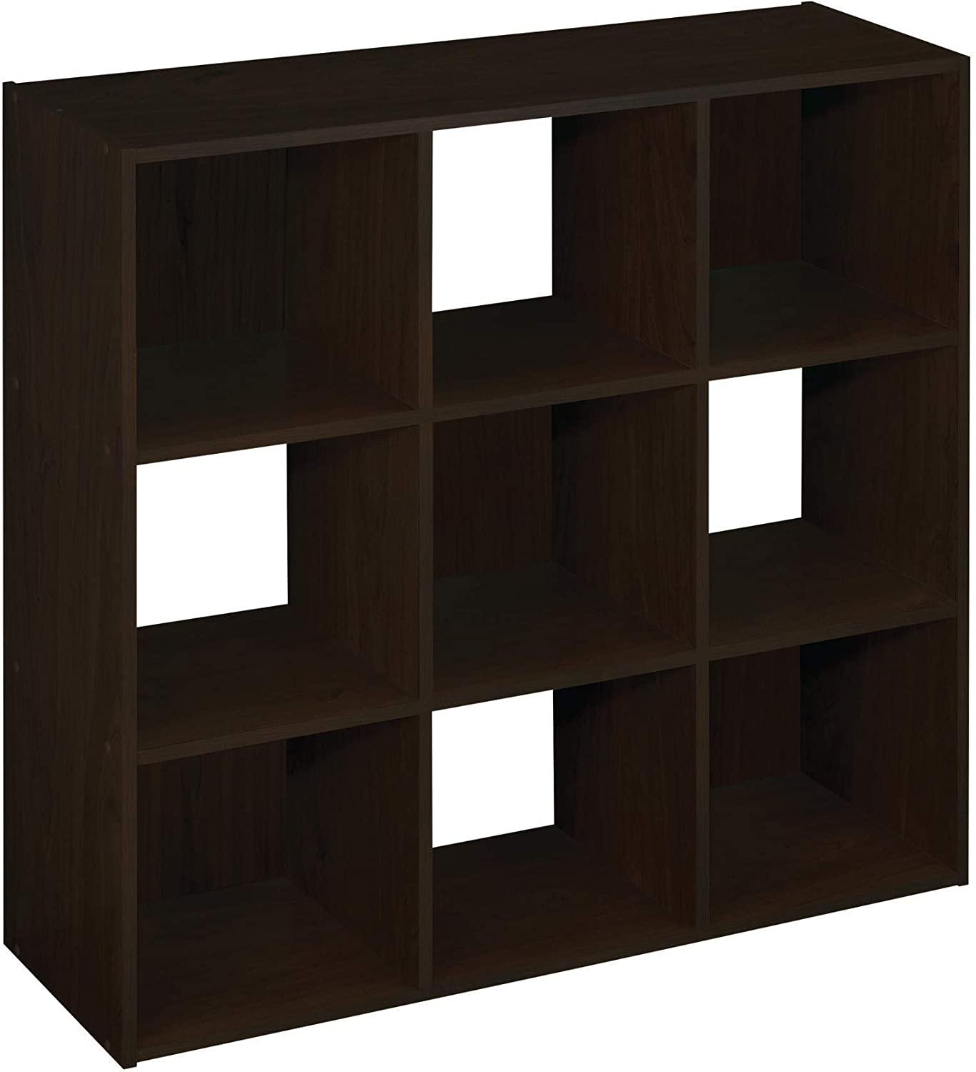 9 Cubes Organizer Bookcase Wood Bookshelf Open Book Shelf 4-Tier Multipurpose Storage Rack Stand Sturdy Dark Brown[US-Stock]