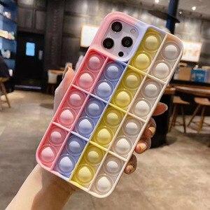 Image 4 - Pop it fidget Phone Case For IPHONE 12 PRO MAX/11 PRO/XS MAX/XR/78 Plus 3D Decompression Silicone Case Bubble Toy Fidget