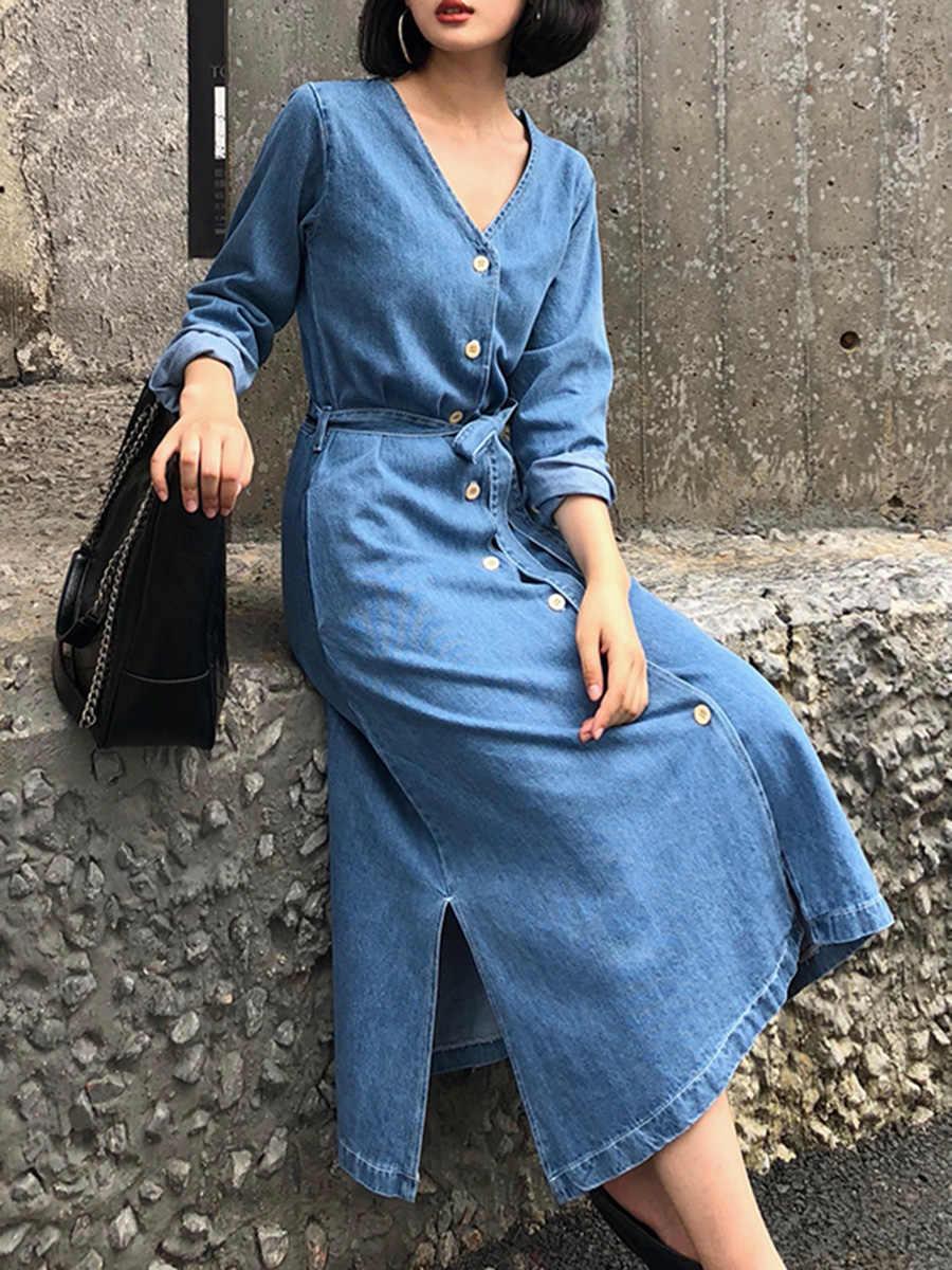 Giày Nữ Xanh Denim Áo Dây Lưng Nút Chia Vogue Hàn Quốc Nữ Đơn Giản Thời Trang Janpan Một Dòng Đầm Maxi Dài 2020