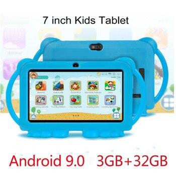 Tableta de aprendizaje de 7 pulgadas para niños, sistema Android 9,0, 3GB, 32GB, con carcasa de silicona, USB, carga de cuatro núcleos