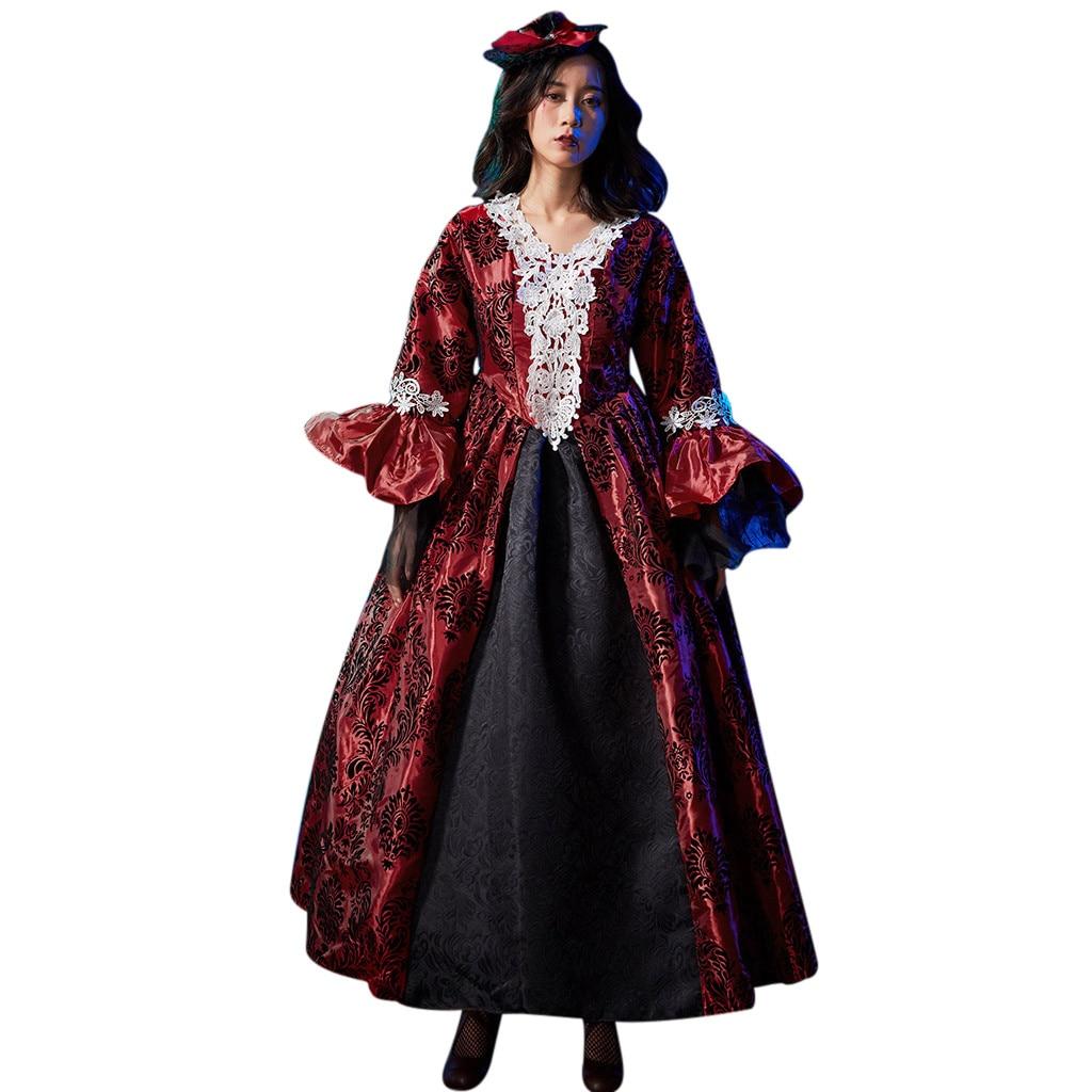 vintage Medieval Robe Cosplay Costume Fashion Women Halloween Witch Vintage Gothic Dress