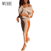 WUHE Rompers Women Jumpsuits Autumn Two Pieces Sets New Fashion Long Sleeve Playsuits Sexy V Neck Knitted Bodycon Long Overalls huti casual two pieces sets sweater knitted jumpsuits for women autumn womens long sleeve bodycon sexy playsuits solid overalls
