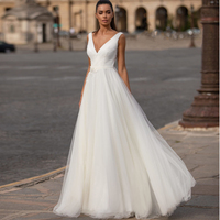 2020 New Collection Boho Wedding Dresses Deep V neck Tulle A line Bohemia Beach Bridal Gown Vestidos de Novia