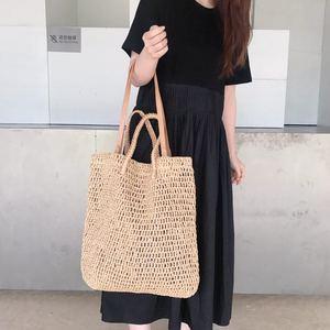 Image 2 - 직조 중공 종이 밀짚 가방 어깨 가방 여성 비치 가방, 소녀 패션 여행 가방 여성 캐주얼 토트