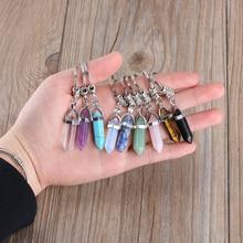 1 unidad de llavero colgante de piedra Natural a la moda, llavero de piedra de cuarzo Natural, llavero de cristal rosa, accesorios de cadenas, regalo de joyería