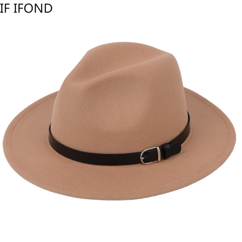 Classic British Fedora Hat Men Women Imitation Woolen Winter Felt Hats Fashion Jazz Hat Chapeau Wholesale 1