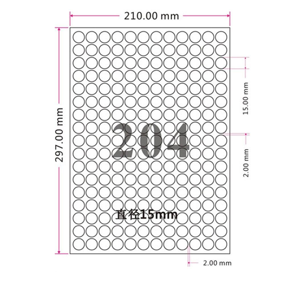 DHL 51000 pièces/lot auto adhésif étiquette impression papier 204 pièces/feuille brillant blanc diamètre 1.5cm rond étiquette A4 Kraft papier - 3