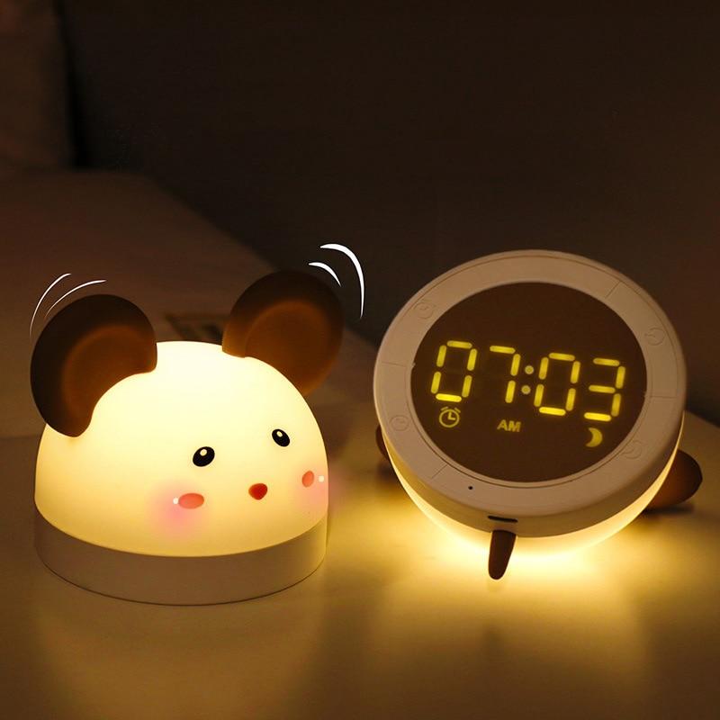일어나 빛 알람 시계 디지털 만화 키즈 침실 머리맡 LED 작은 알람 데스크 장식 alram 시계