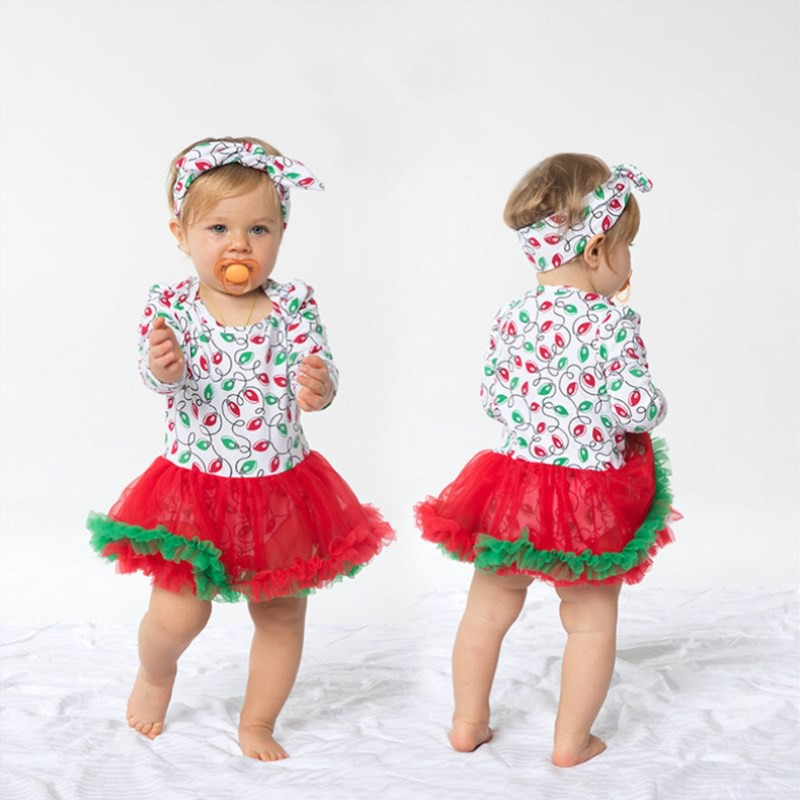2Pcs Cute Baby Girl Long Sleeve Christmas Theme Pattern Romper Dress+Headband Skirt Outfits Christmas Costume