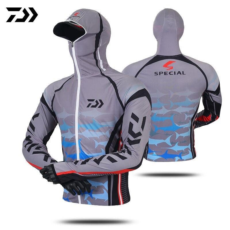 Daiwa pesca hoodie anti-uv protetor solar roupas de proteção solar ciclismo camisa respirável secagem rápida caminhadas roupas rosto pescoço