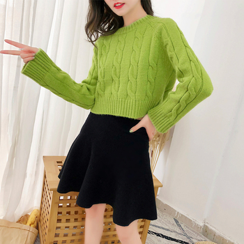 Fashion Knitwear Short Sweater Green Crop Sweater Long Sleeve Solid Color O Neck Twist Pullovers One Size 2019 Autumn Spring фото