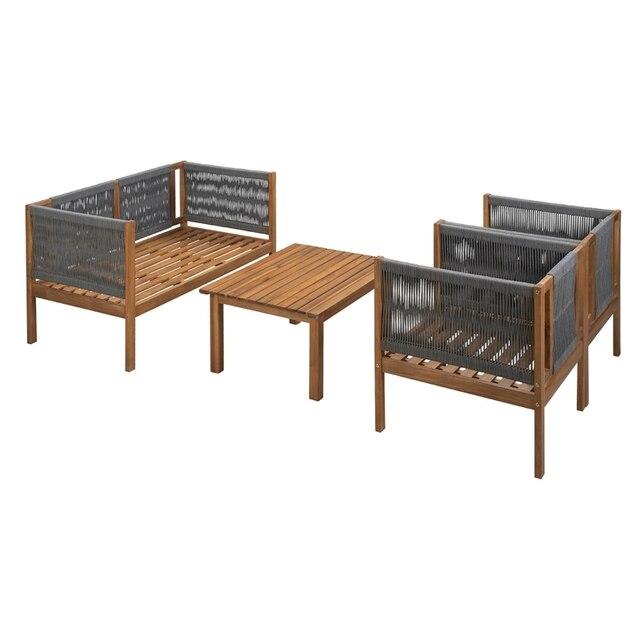 4PCS Wooden Outdoor Tea Room Chair Set  5