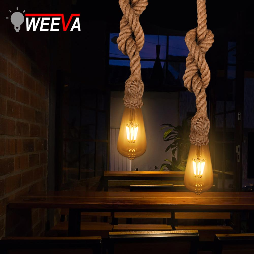 Retro Vintage Rope Pendant Light Lamp Loft Edison Bulb E27 18mm 25mm Personality Industrial American Style Restaurant Coffee Bar