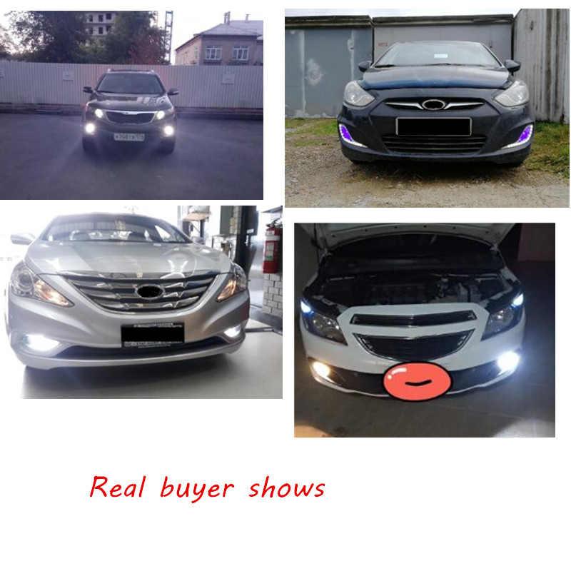 2 uds H27 881 880 luces antiniebla LED de coche DRL blanco azul hielo Auto Luz de circulación diurna 12V 4014 lámpara de Foglight