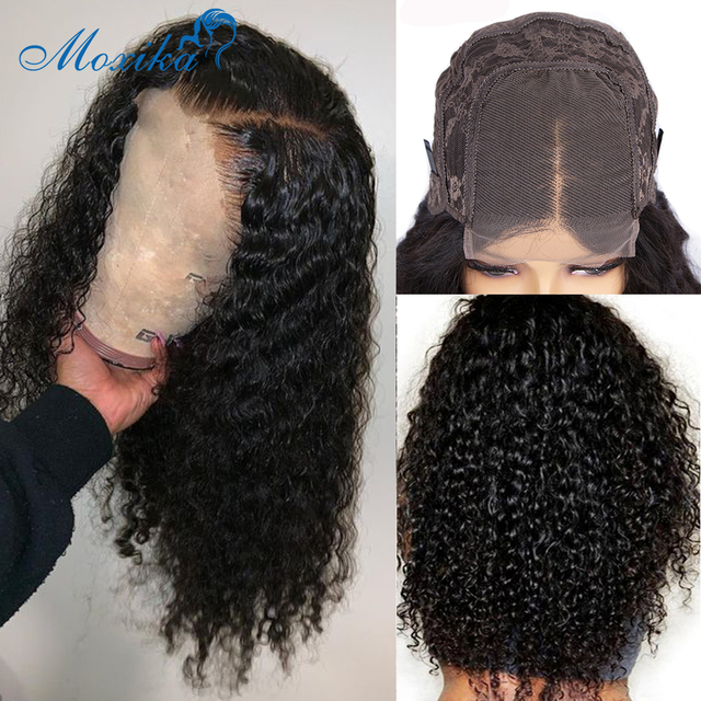Deep Wave Closure Wig Human Hair Lace Frontal Wigs 180 Lace Front Wig Pre Plucked Bleached Knots Wigs Remy 4x4 Frontal Lace Wig 4