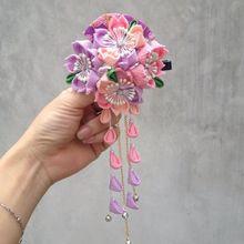 Sakura Tsumami zaiku kanzashi Hairpin Bell tassel Hair Clip Japanese Geisha Kimono Yukata Accessory Handwork Ornaments Cosplay